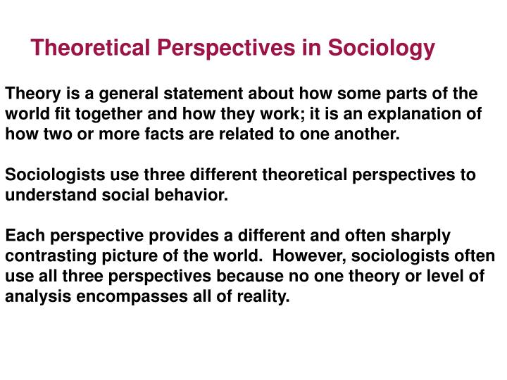 theoretical perspectives in sociology n.