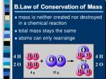 b law of conservation of mass