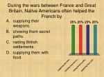 during the wars between france and great britain native americans often helped the french by