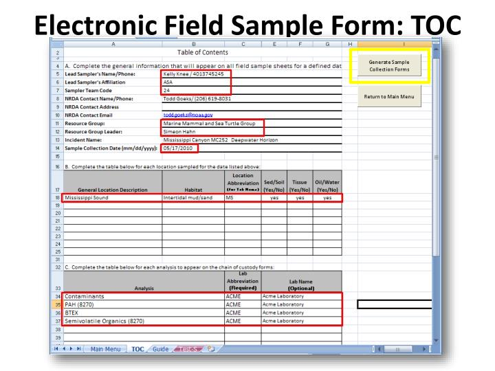 Electronic Field Sample Form: TOC