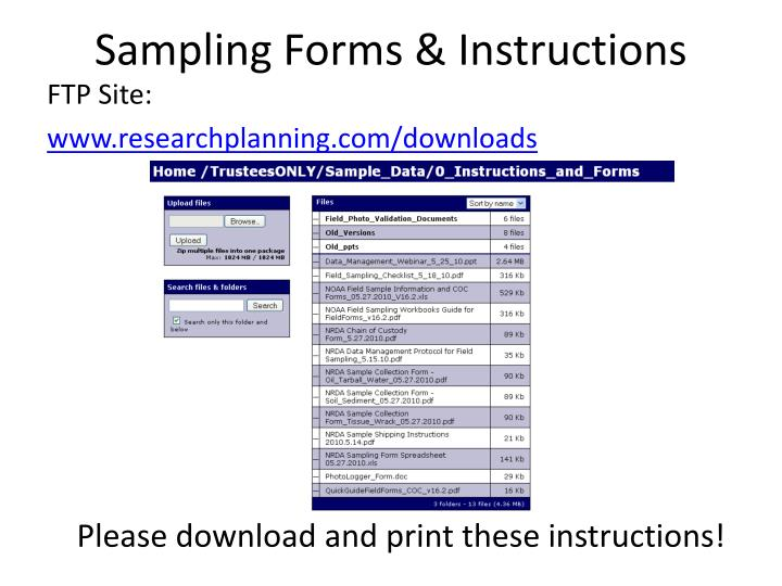 Sampling forms instructions