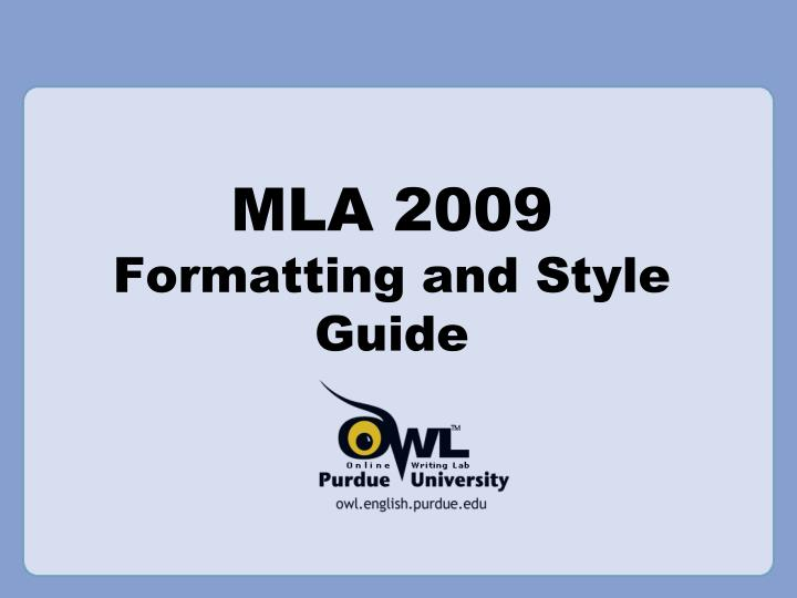mla 2009 formatting and style guide n.
