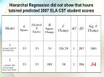 hierarchal regression did not show that hours tutored predicted 2007 ela cst student scores