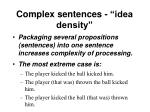 complex sentences idea density