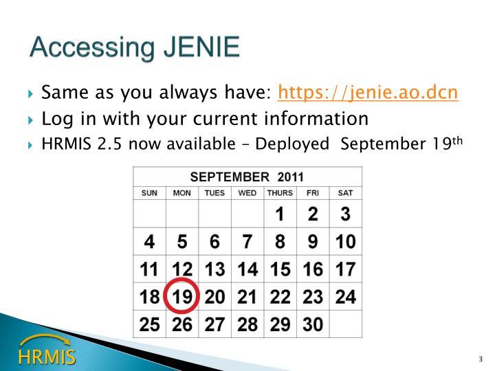 Accessing jenie