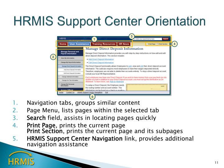 HRMIS Support Center Orientation