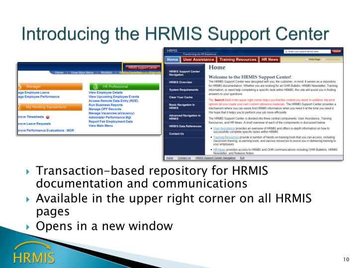 Introducing the HRMIS Support Center