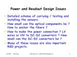 power and readout design issues
