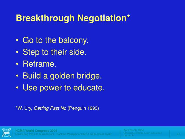 Breakthrough Negotiation*