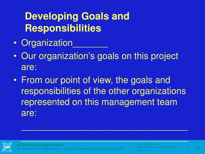 Developing Goals and Responsibilities