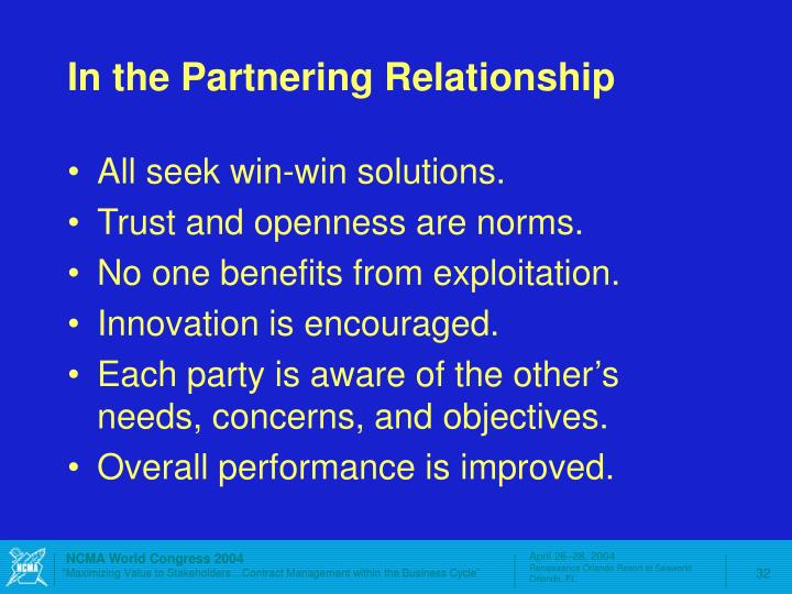 In the Partnering Relationship