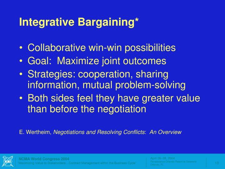 Integrative Bargaining*