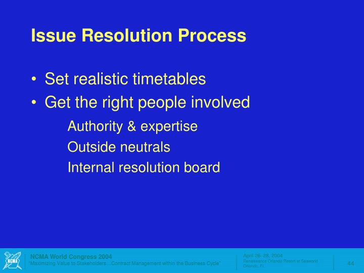 Issue Resolution Process