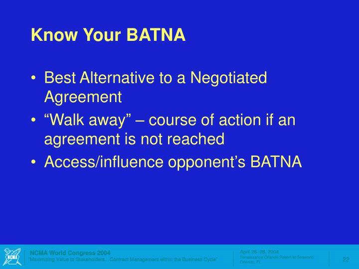 Know Your BATNA