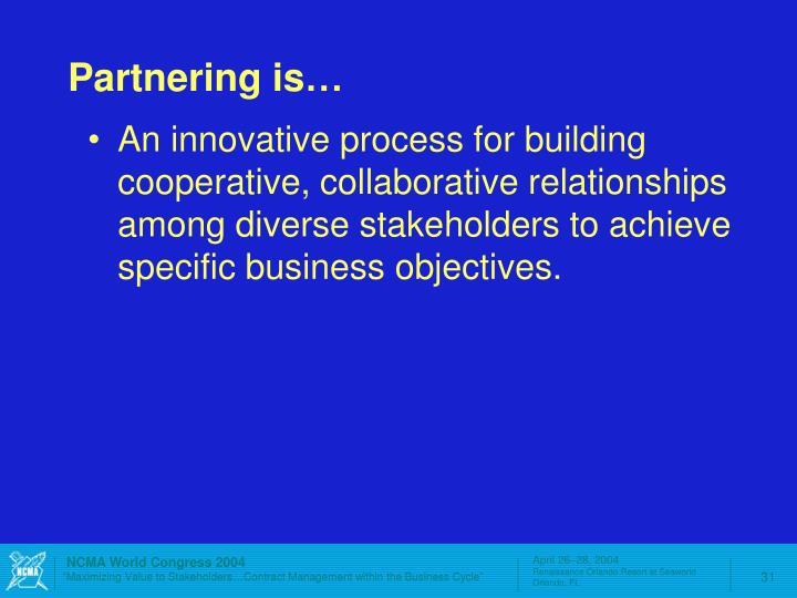 Partnering is…