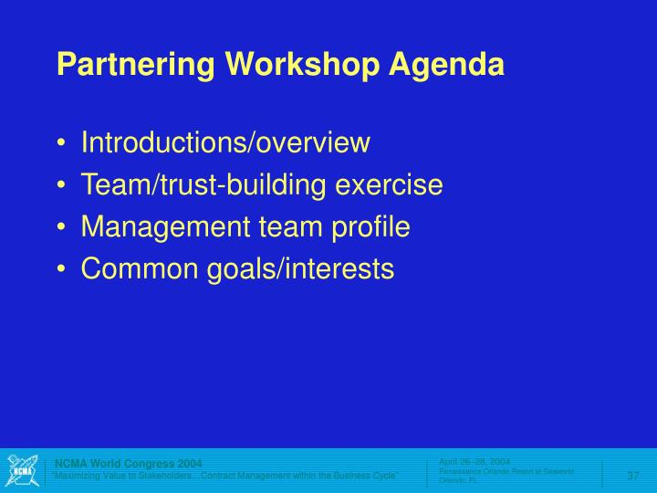 Partnering Workshop Agenda