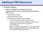 additional prs resources