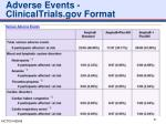 adverse events clinicaltrials gov format