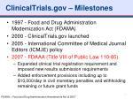 clinicaltrials gov milestones