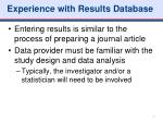 experience with results database