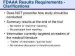 fdaaa results requirements clarifications