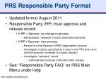 prs responsible party format