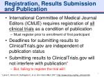 registration results submission and publication
