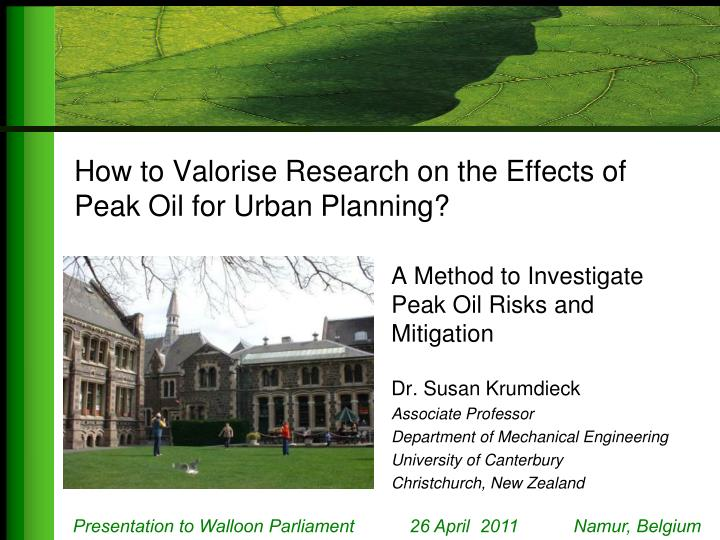 how to valorise research on the effects of peak oil for urban planning n.