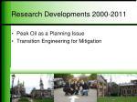 research developments 2000 2011