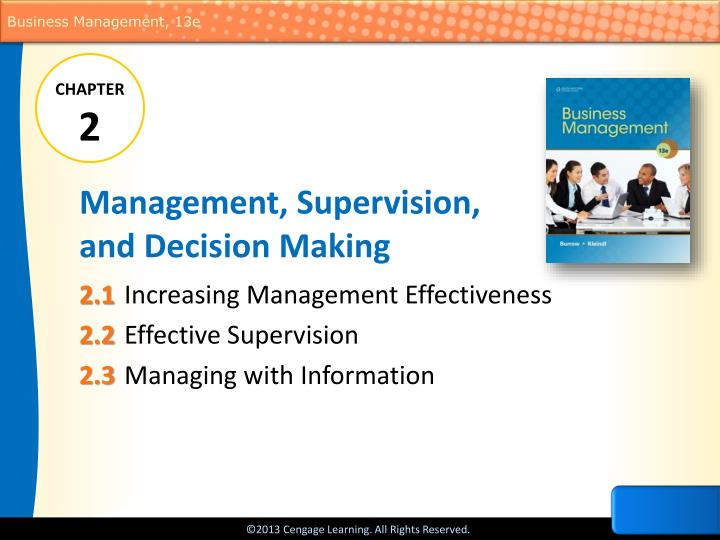 management supervision and decision making n.