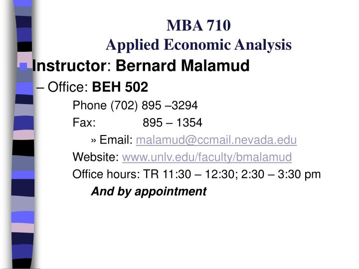 mba 710 applied economic analysis n.