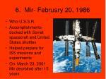 6 mir february 20 1986