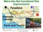 metro has not considered rail improvements