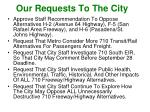 our requests to the city