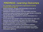 findings learning outcomes