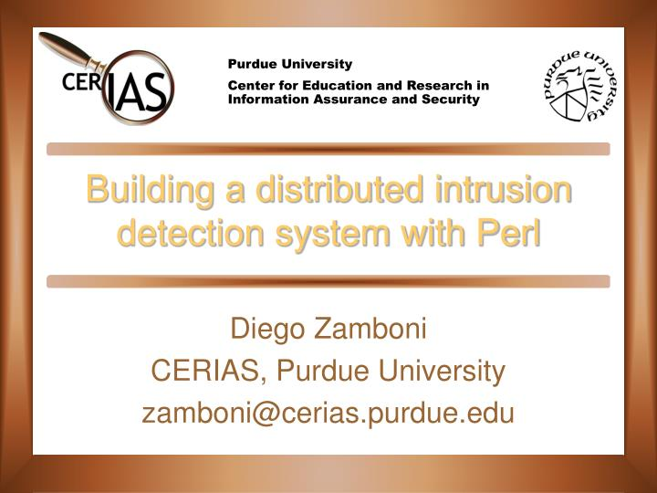 building a distributed intrusion detection system with perl n.