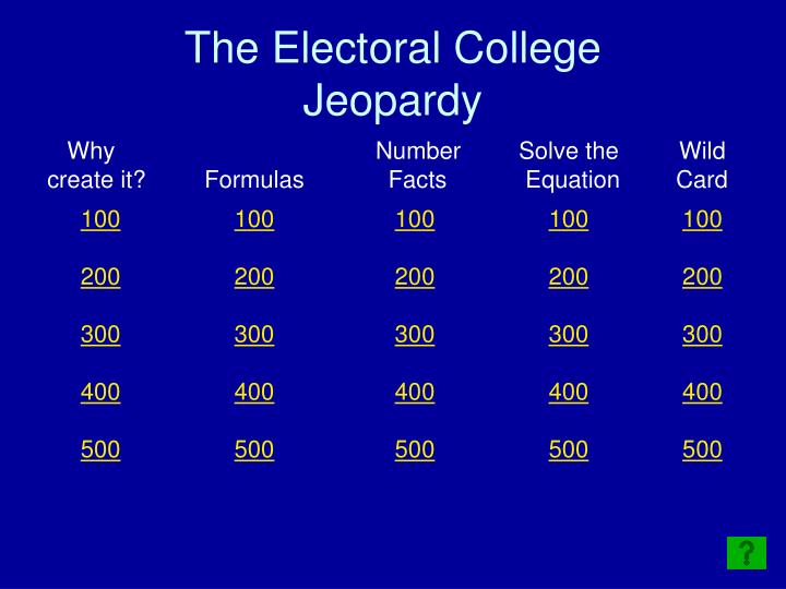 the electoral college jeopardy n.