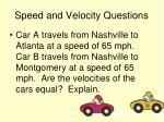 speed and velocity questions