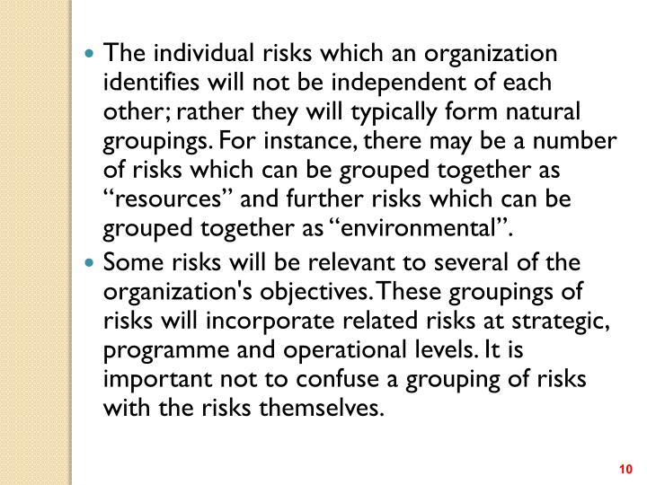"""The individual risks which an organization identifies will not be independent of each other; rather they will typically form natural groupings. For instance, there may be a number of risks which can be grouped together as """"resources"""" and further risks which can be grouped together as """"environmental""""."""