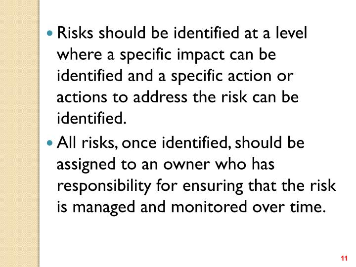 Risks should be identified at a level where a specific impact can be identified and a specific action or actions to address the risk can be identified.