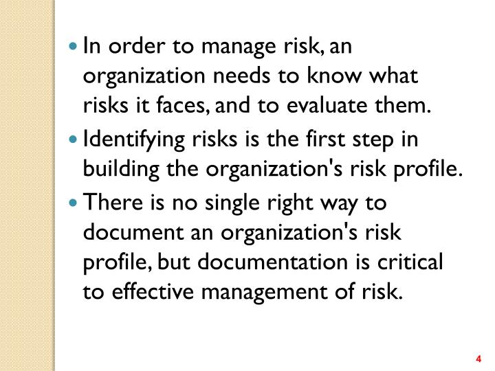 In order to manage risk, an organization needs to know what risks it faces, and to evaluate them.