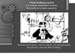 a rube goldberg machine is a comical complicated invention that performs a simple operation