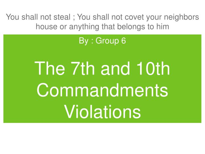 the 7th and 10th commandments violations n.