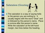 salutation greeting