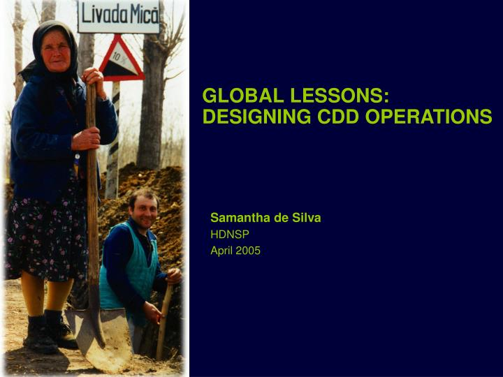 global lessons designing cdd operations n.
