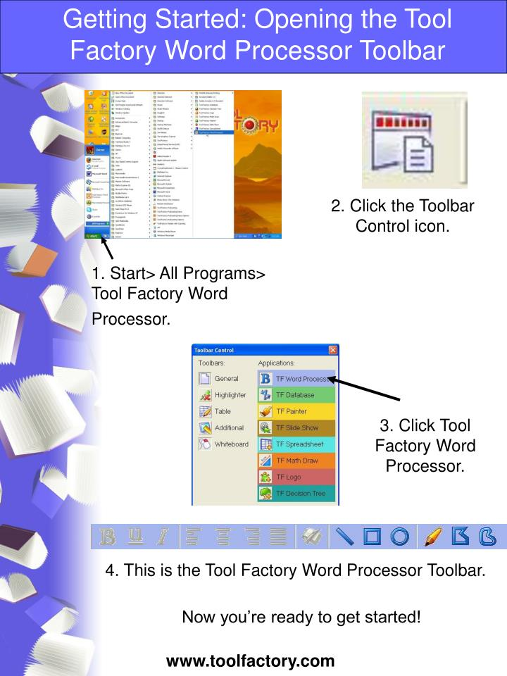 getting started opening the tool factory word processor toolbar n.
