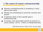 1 the context of women s entrepreneurship