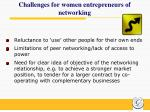 challenges for women entrepreneurs of networking
