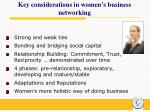 key considerations in women s business networking