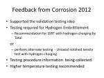 feedback from corrosion 2012